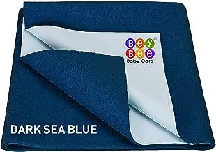BeyBee Waterproof Baby Bed Protector Dry Sheet for New Born Babies (Small (50cm X 70cm), Dark Sea Blue)
