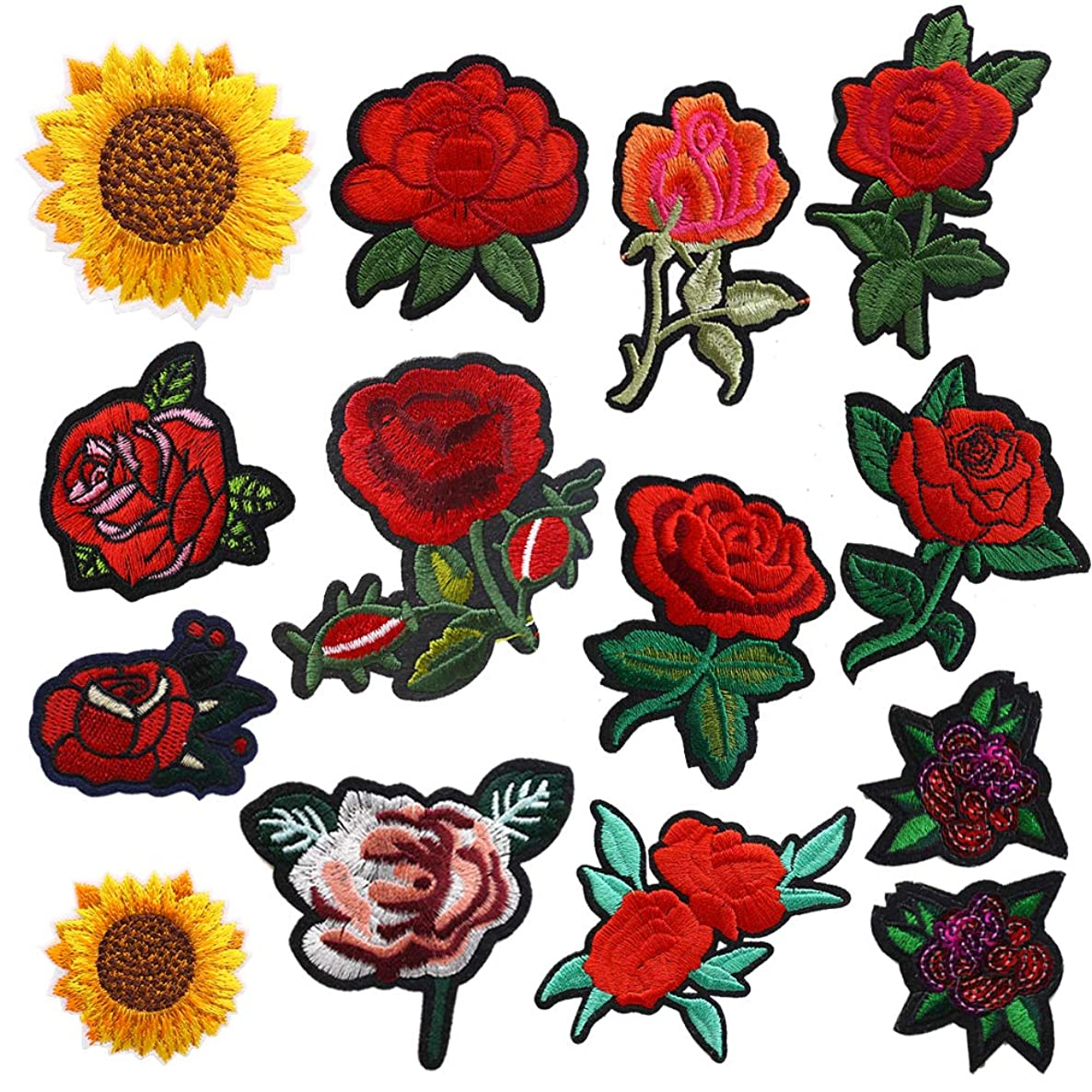 14PCS Flower Iron-on Patches, Embroidered Flower Rose Sew on Patch Applique Clothes Jackets Jeans Dress Hat DIY Accessory