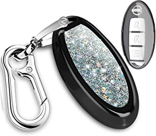 QBUC for Nissan Key Fob Cover, 3 4 7 Button Case Key Fob Cover with Key Chain, Replacement Key Fob (Bling Black)