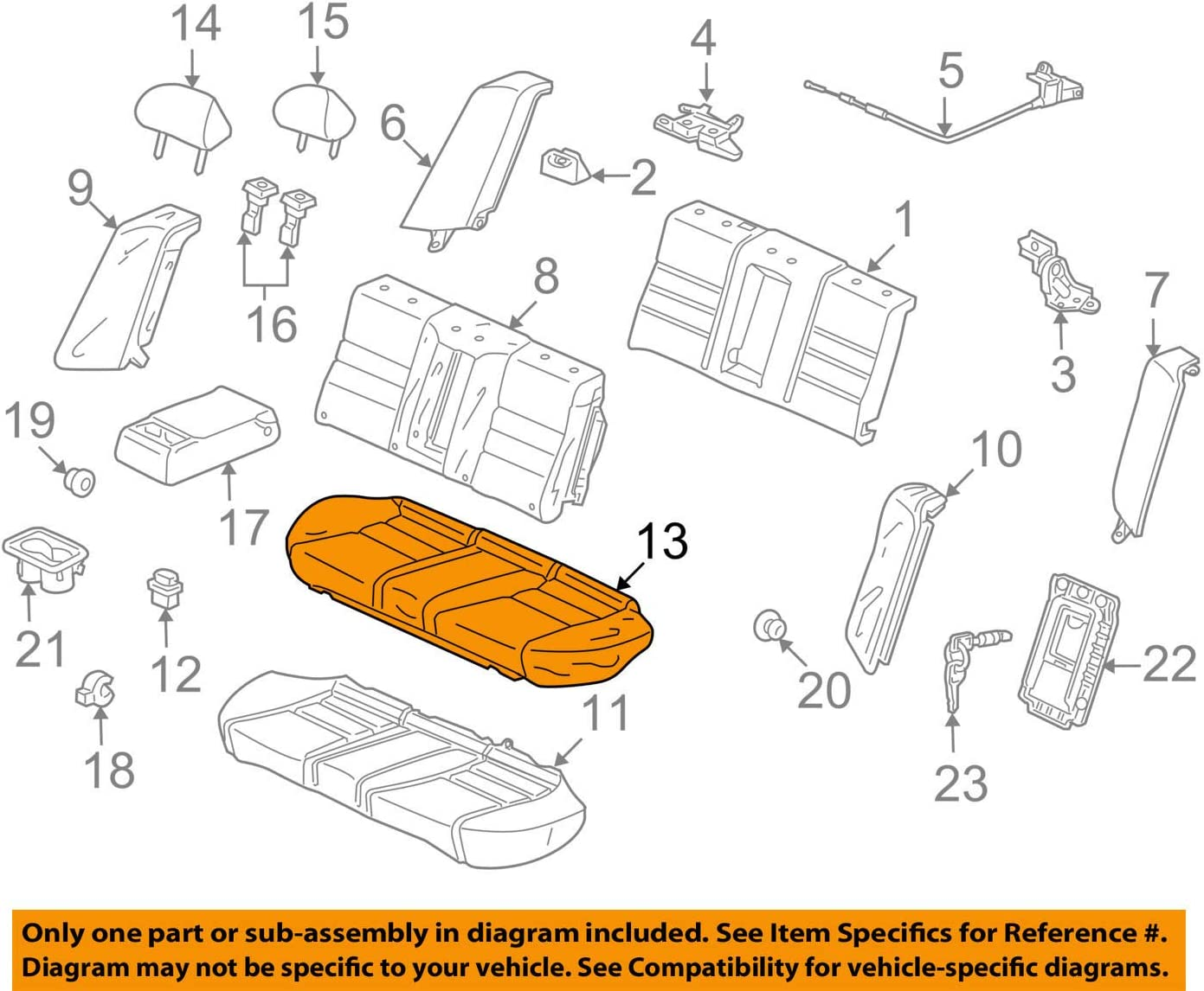 Honda Genuine 82131-TA5-A42ZB Seat gift Cover Trim Cushion OFFicial shop Rear