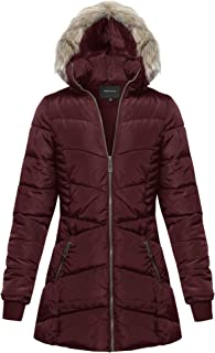 Women's Fitted Quilted Puffer Jacket with Detachable Faux Fur Hood
