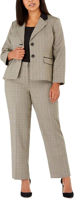 Le Suit Women's Plus Size 2 Button Notch Collar with Crepe Detail Plaid Pant Suit