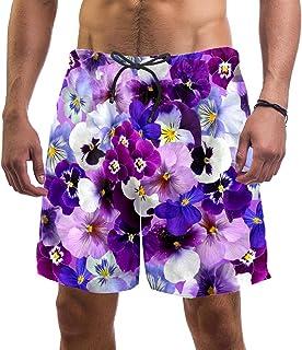 henghenghaha Mens Swim Shorts Waterproof Quick Dry Beach Shorts with Mesh Lining,Purple Flowers