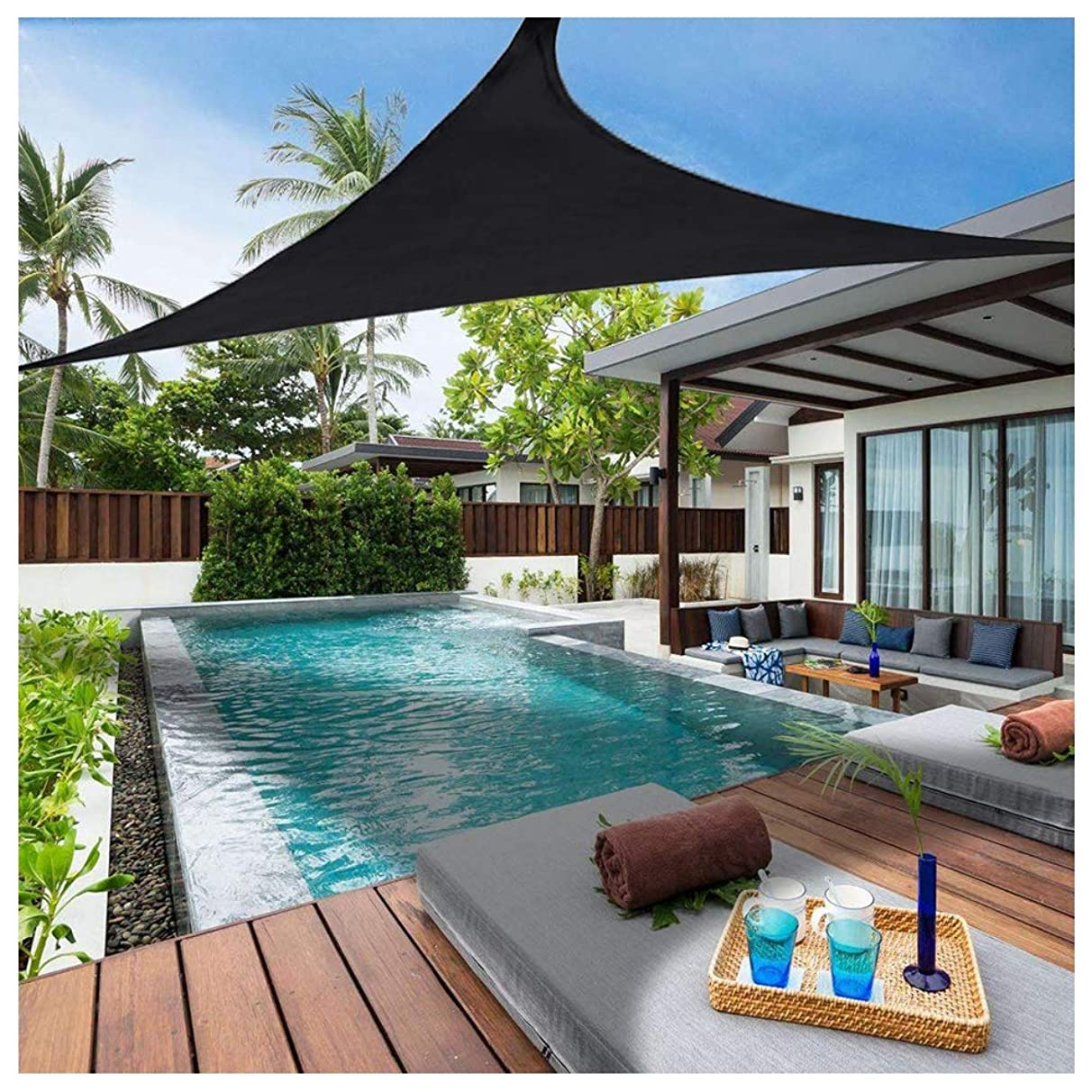 Awnings 6.'x 6.'x6.' Shade Sail Garden 95% Uv Protection Triangle Waterproof Mold Proof for Garden Pool Terrace Custom Size