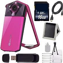 Casio Exilim EX-TR70 Selfie Digital Camera (Vivid Pink) (International Version) + 16GB Memory Card Bundle