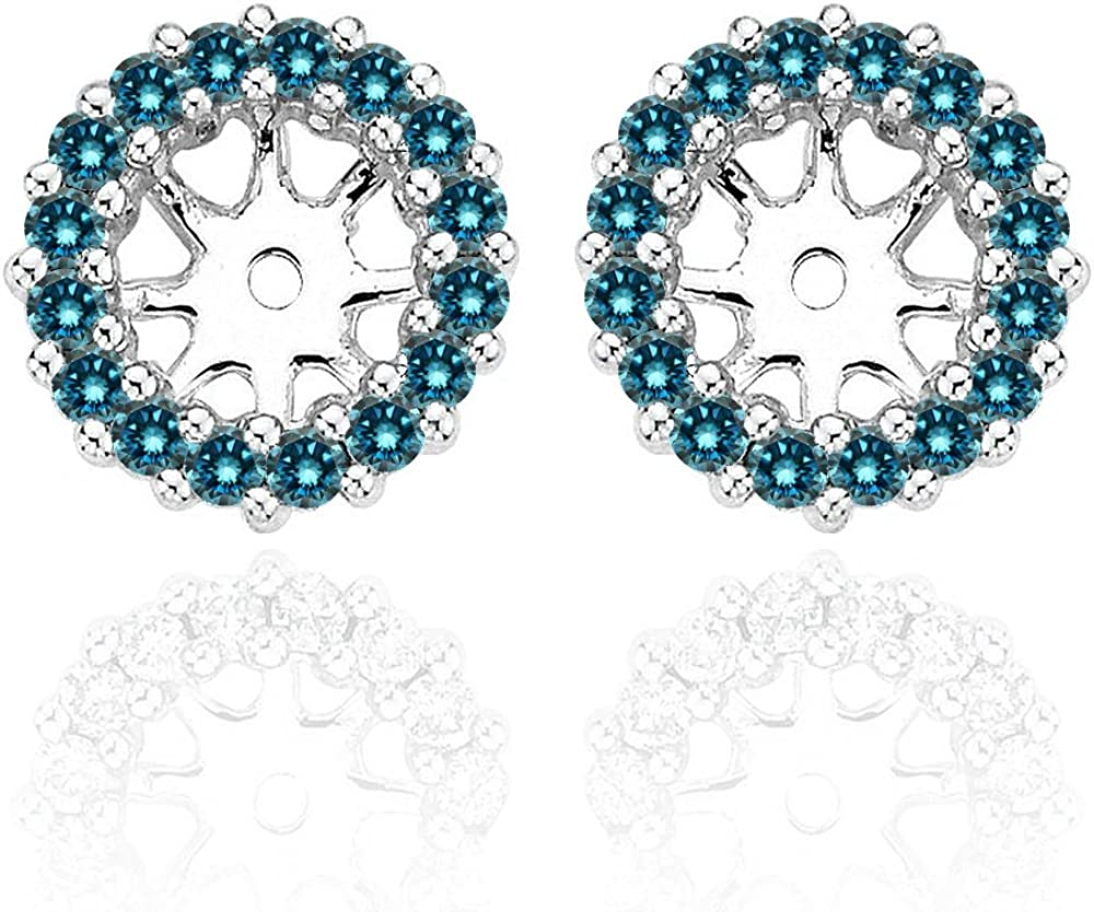 0.26 Carat Blue Diamond Earrings Jackets For 4 MM(0.50 Carat Total Weight) 14K White Gold Halo Stud Solitaire