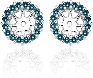 1.20 Carat Blue Diamond Earrings Jackets For 7 MM(3.00 Carat Total Weight) 14K White Gold Halo Stud Solitaire