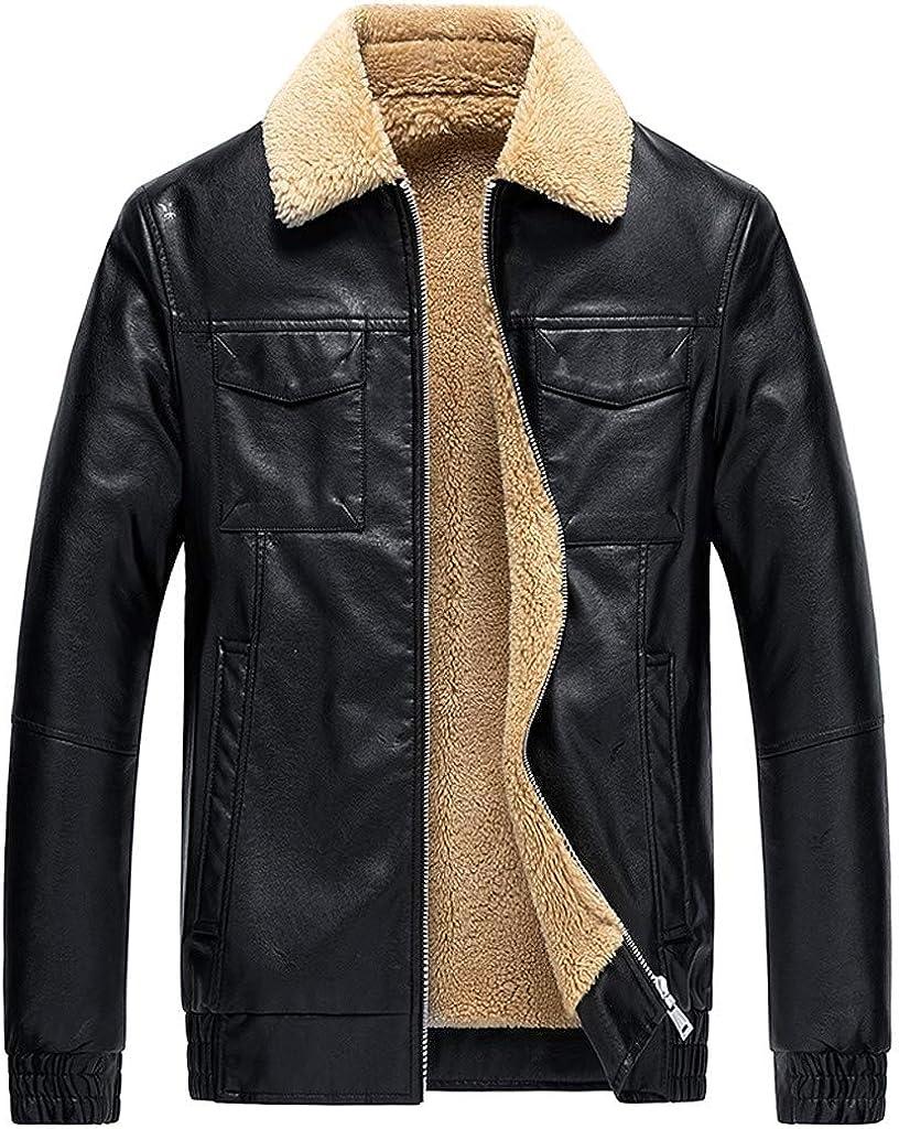 Mens Leather Sherpa Jacket, NRUTUP Faux Leather Biker Shearling Jacket Winter Warm Fleece Lined Coat Outerwear