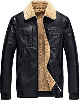 wuliLINL Men's Vintage Faux Leather Sherpa Lined Aviator Bomber Slim Leather Jacket