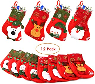 Aitey Mini Christmas Stockings, Set of 12 Xmas 3D Character Plush Santa, Snowman, Reindeer, Bear, Bulk Personalized Stocking Felt Red Xmas Tree Decorations