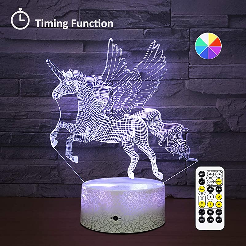 Wall Adapter Included Remote Touch Control LED Unicorn Night Light With Timer Dimmable Bedside Table Desk Lamp 7 Color Changing Nightlights For Nursery Kids Bedroom Living Room