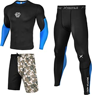3 Pcs Men's Workout Clothes Set with Compression Pants, Long Sleeve Shirts and Loose Fitting Shorts