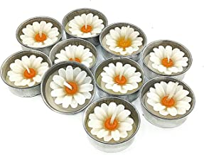 NAVA CHIANGMAI White Daisy Flower Candle in Tea Lights,Scented Tea Lights, Aromatherapy Relax, Candles for Birthday Party Supplies and Wedding Favor(Pack of 10 Pcs.)