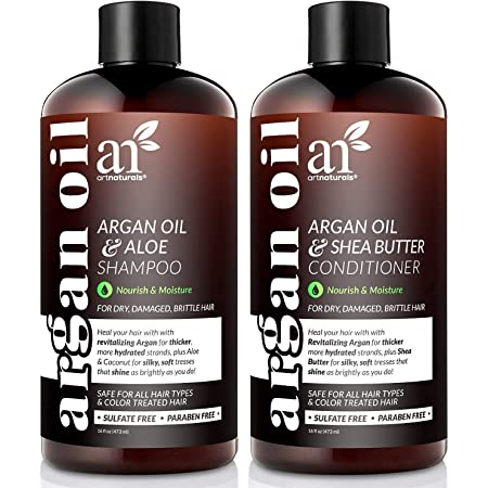 Artnaturals Organic Moroccan Argan Oil Shampoo and Conditioner Set - (2 x 16 Fl Oz / 473ml) - Volumizing & Moisturizing - Gentle on Curly & Color Treated Hair - Infused with Keratin