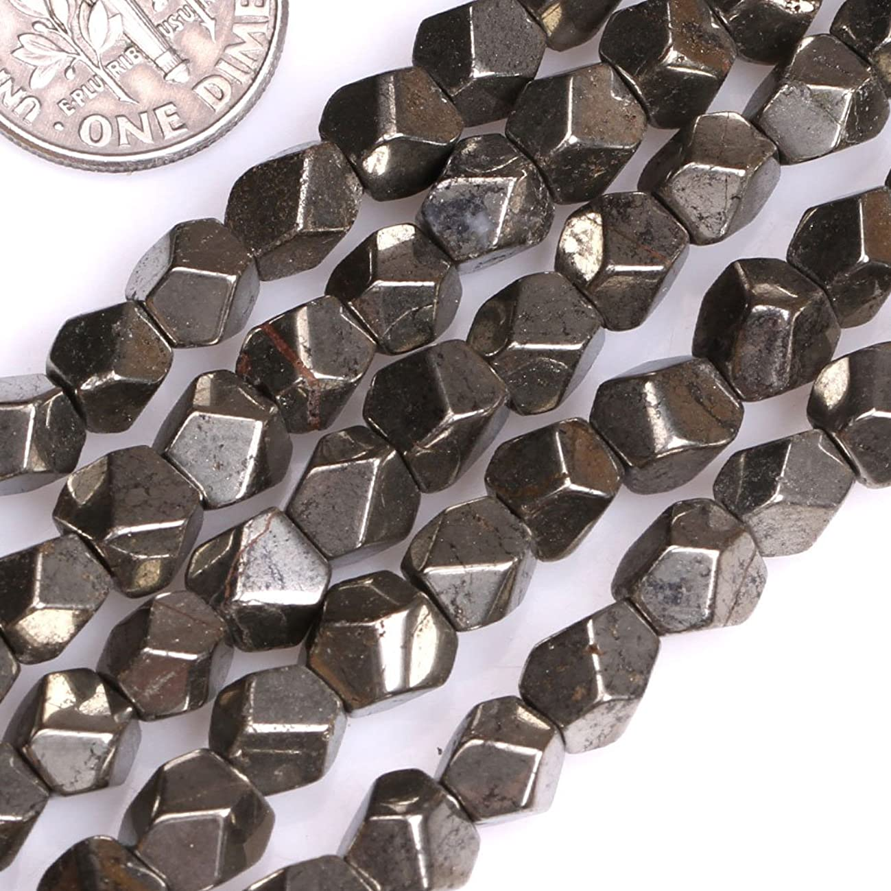 GEM-inside Pyrite Gemstone Loose Beads 10mm Faceted Silver Gray Energy Stone Power Beads For Jewelry Making 15
