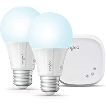 Sengled Smart light Bulb Starter Kit, Smart Bulbs that Work with Alexa & Google Home, Smart LED Light Bulb A19 Daylight (5000K), 9W (60W Equivalent), 2 Smart Bulbs & 1 Smart Hub