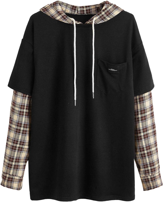 SweatyRocks Women's Casual Plaid Long Sleeve Hooded Sweatshirt Drop Shoulder Drawstring Hoodie with Pocket