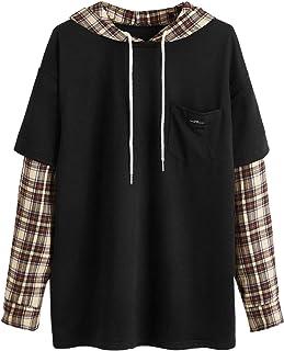 SweatyRocks Women's Casual Plaid Long Sleeve Hooded Sweatshirt Drop Shouder Drawstring Hoodie with Pocket