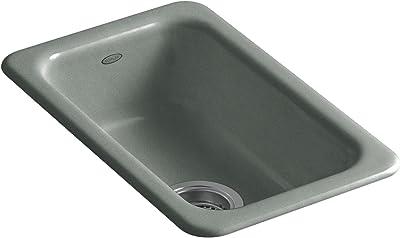 "KOHLER K-6586-FT Iron/Tones Self-Rimming (12"" X 18-3/4"") or Undercounter (9"" X 15-3/4"") Kitchen Sink, Basalt"