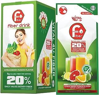 Vital 4U® Fiber Drink - Soluble Prebiotic Fiber Supplement Shot, Gluten Free, Ready to Drink, (Citrus Berry Fusion, 24 Count)