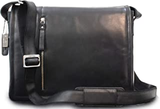 Visconti Laptop Case Messenger Bag - Sultry Distressed Leather - Removable Padded Laptop Cover/Shoulder/Cross Body/Hardwearing/Work Bag/Business/Office - 16072 - Foster - Oil Black