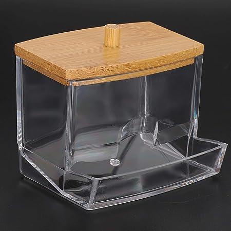 Boîte de coton-tige, distributeur de cure-dents, support de distributeur de coton-tige Housse en bambou transparent pour boules de coton pour cure-dents(rectangle)