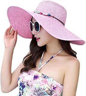 Adrinfly Women Floppy Sun Hat Travel Packable Wide Brim Adjustable Beach Straw Accessories Accessories UPF 50