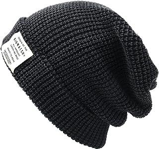 [ビッグワッチ] 帽子 ニット帽 ワンウォッシュ ロング ラージスケール ニットキャップ LG-02 メンズ ブラック L XL 大きいサイズ