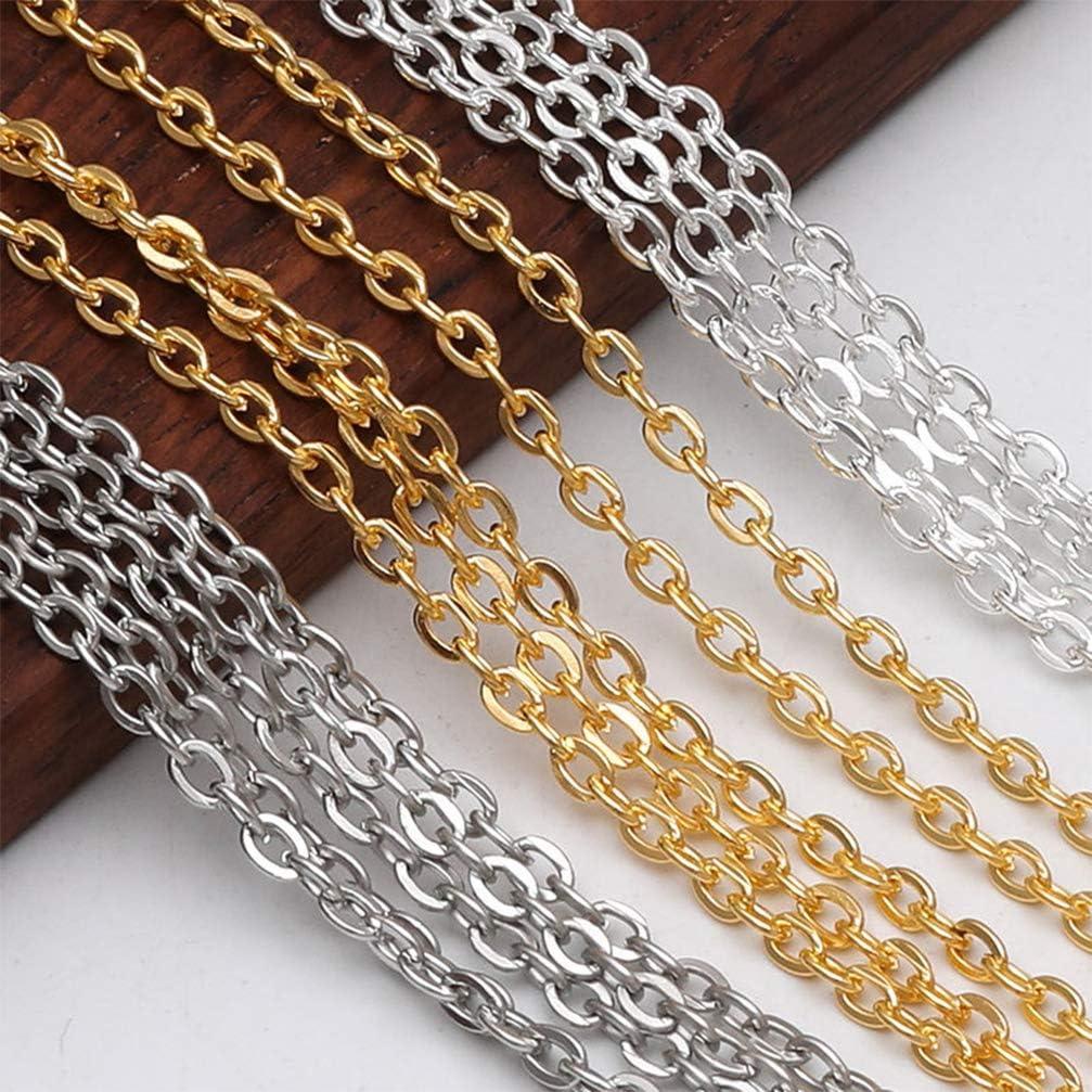 Artibetter Croix Cha/îne de Maillons de C/âble en Acier Inoxydable Plat Bricolage Collier Cha/îne de Remplacement de Bijoux pour La Fabrication Artisanale D/écoration Dor/é 300X0. 2 Cm