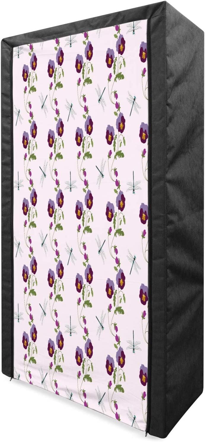 Ambesonne Pansy Portable Fabric Wardrobe free Illustrated Compositio Don't miss the campaign