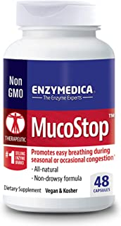 Enzymedica, MucoStop, Enzyme Supplement to Support Easy Breathing, Sinus and Mucus Relief, Vegan, 48 Capsules (24 Servings...