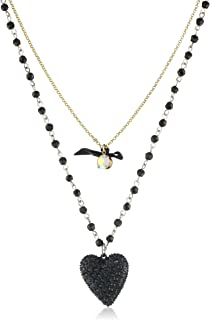 Betsey Johnson Women's Iconic Glitter Heart Two-Row Necklace