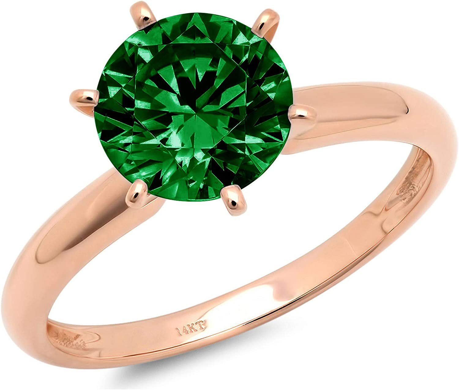 0.4ct Brilliant Round Cut Solitaire Flawless Simulated Cubic Zirconia Green Emerald Ideal VVS1 6-Prong Engagement Wedding Bridal Promise Anniversary Designer Ring in Solid 14k rose Gold for Women