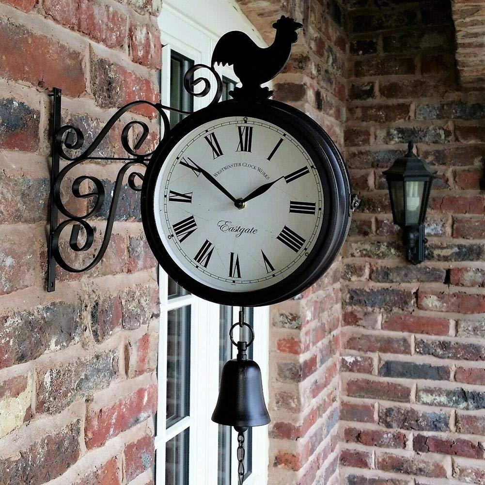 Reloj de pared para jardín exteriores de doble cara retro, con campana de gallo y soporte de estación, negro, 30x37x9 cm: Amazon.es: Bricolaje y herramientas