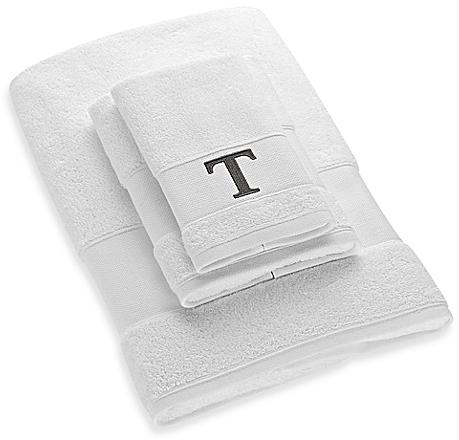 Avanti Silver Block Letter Monogram Turkish Cotton Cuff Hand Towel in White - Bed Bath & Beyond