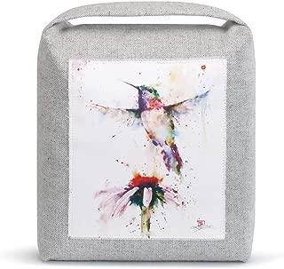 Demdaco Hummingbird Splash Watercolor Red 9 x 8 Linen Canvas and Sand Door Stop