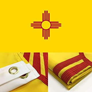 Winbee US New Mexico Flag 3x5 Ft with Double Sided Embroidered Stars, Long Lasting Nylon, Sewn Stripes and Brass Grommets, UV Protected, 3 by 5 USA Flag and New Mexico Flag