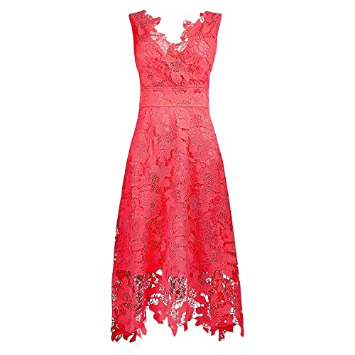 LookbookStore Womens Plus Size Coral Lace Bridal Formal Skater Dress