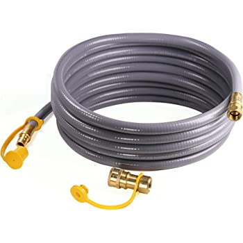 DOZYANT 12 Feet 3/8 inch ID Natural Gas Grill Hose with Quick Connect Propane Gas Hose Assembly for Low Pressure Appliance -3/8 Female Pipe Thread x 3/8 Male Flare Quick Disconnect - CSA Certified