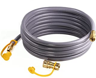 DOZYANT 12 Feet 3/8 inch ID Natural Gas Grill Hose with Quick Connect Propane Gas Hose Assembly for Low Pressure Appliance...