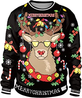 KPJ Unisex Ugly Christmas Pullover Sweatshirts 3D Digital Printed Graphic Crew Neck Shirts
