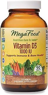 MegaFood, Vitamin D3 1000 IU, Immune and Bone Health Support, Vitamin and Dietary Supplement, Gluten Free, Vegetarian, 90 ...