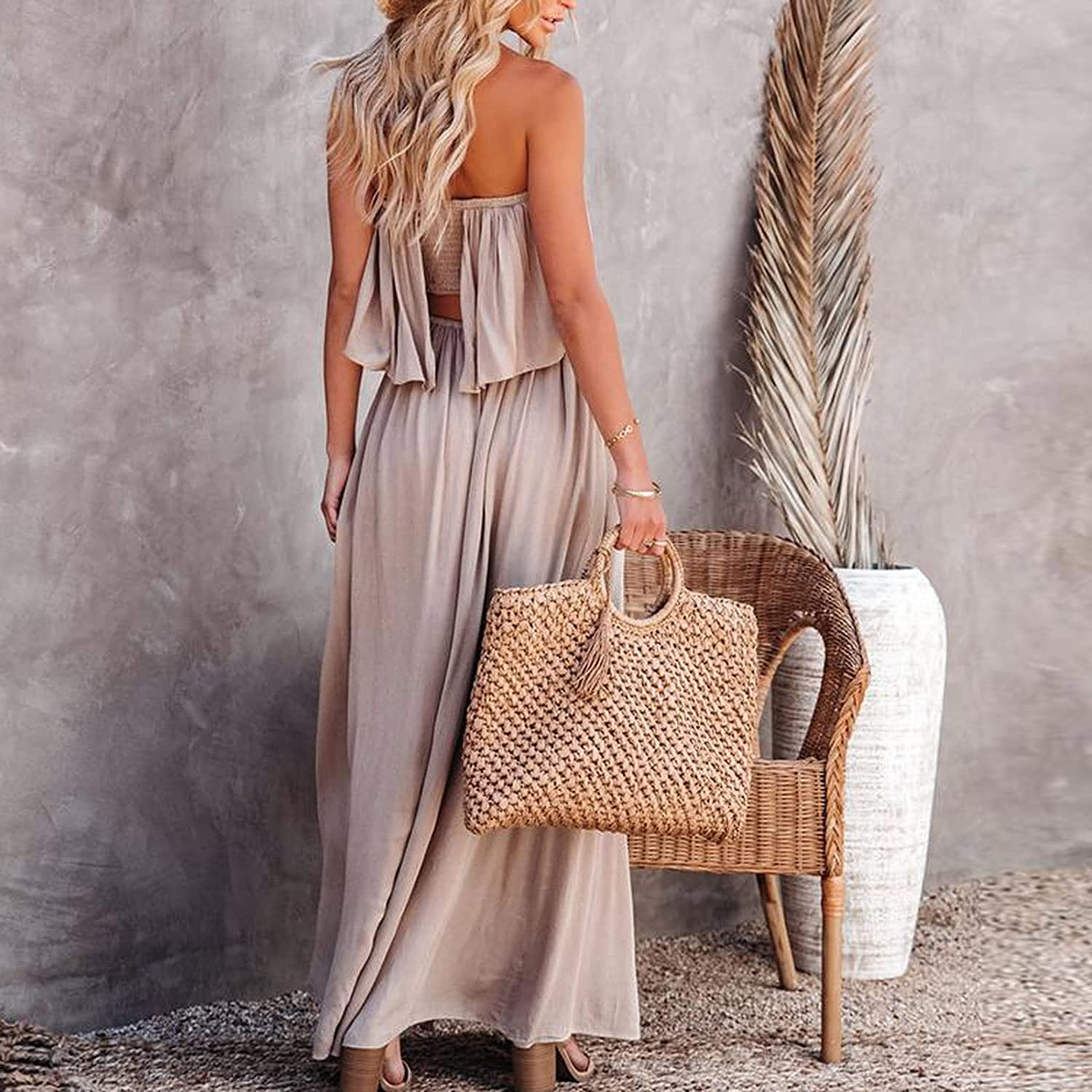 Flowy Bohemian Outfits Set for Women Tube Backless Crop Top and Split Fork Bandage Long Skirt 2 Pieces Suit