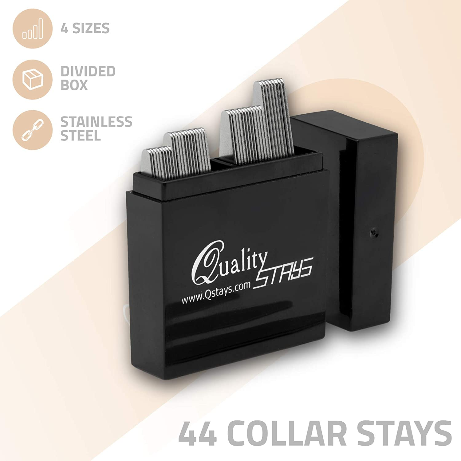 44 Metal Collar Stays - 4 sizes in a Box for Men (Mix)