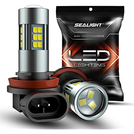 SEALIGHT H11/H8/H16 LED Fog Light Bulbs, 6000K Xenon White, 27 SMD Chips, 360-degree Illumination, Non-polarity, Pack of 2