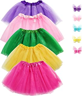 Girls Tutu Skirt Set, Jeowoqao 5-pack 3 Layer Ballet Dance Tutu Dress with 5-pcs Flower Hairpins Fit Kids Age 3-8