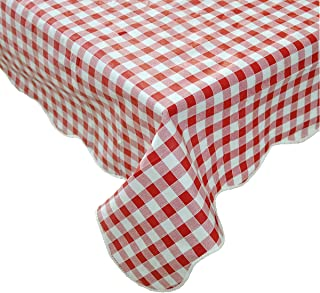 Artisan Flair AF6060-014 Red and White Checkered Vinyl Tablecloth with Flannel Backing for Picnic/Party, Indoor Or Outdoor Dining-60
