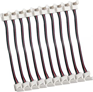 TronicsPros 4 Pin 10mm LED Connector for Waterproof 5050 LED Strip Light RGB LED Strip Connector Jumper- 17cm/6.7 inch Lon...
