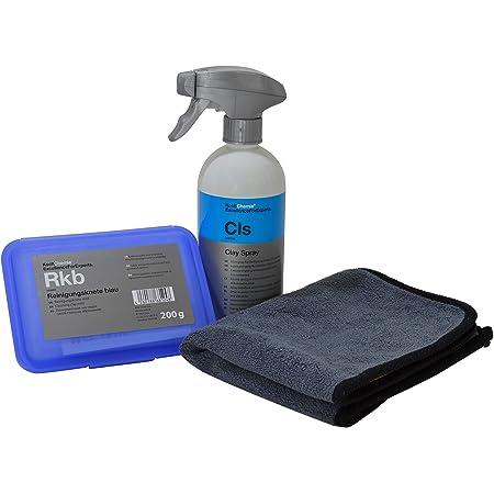 Lackreinigungs Set Koch Chemie Reinigungsknete Blau Mild 200g Clay Spray Cls 500ml Advantuse Mikrofasertuch Auto