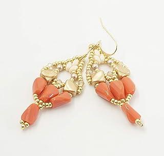 orecchini boho pendenti fatti a mano perline oro arancioni, regalino amica